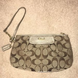 New Coach gold wristlet